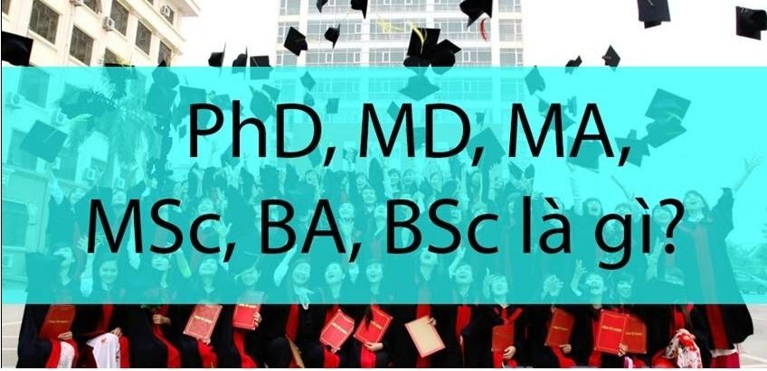 PhD, MD, MA, MSc, BA, BSc có nghĩa là gì?