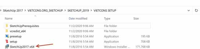 """Chạy file """"Sketchup 2017-x64.msi"""" để bắt đầu cài đặt"""