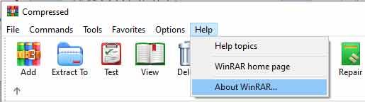 Chọn About WinRar để kiểm tra bản quyền