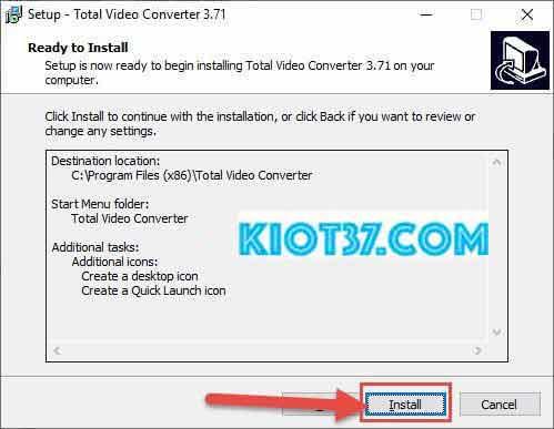 Chọn Install để bắt đầu cài đặt phần mềm
