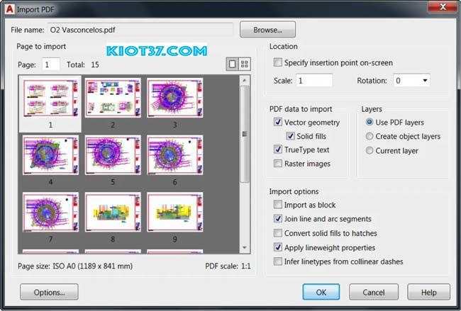 Chuyển file PDF sang file CAD