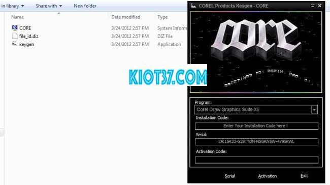 Giao diện khi chạy file Chạy file keygen