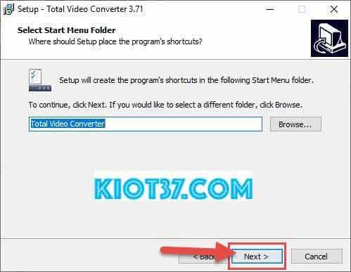 Nhấn chọn Next để đặt tên phần mềm trong Start Menu