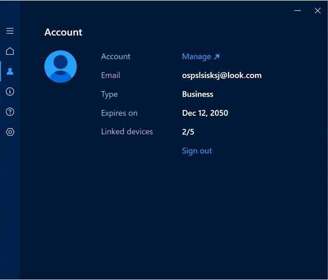 Vào mục Account để kiểm tra thông tin đăng ký