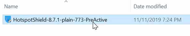 chạy file Hotspot Shield-8.7.1-plain-773-PreActive.exe