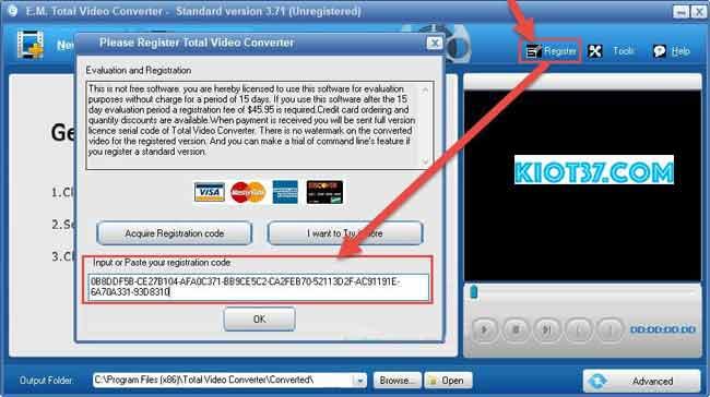 chọn Register rồi nhập key vào