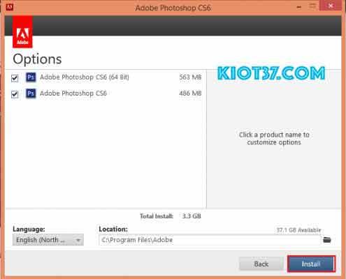 chọn phiên bản Photoshop Adobe CS6