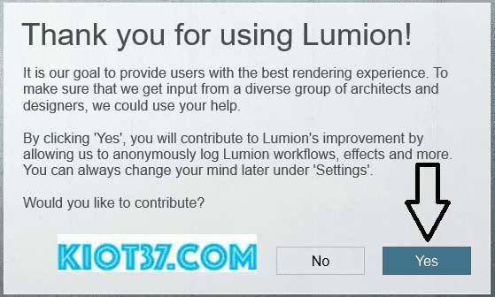Chọn Yes để kết thúc cài đặt Lumion 8 full crack