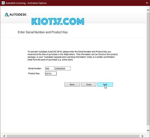 Nhập Serial Number và Product Key sau đó nhấn next