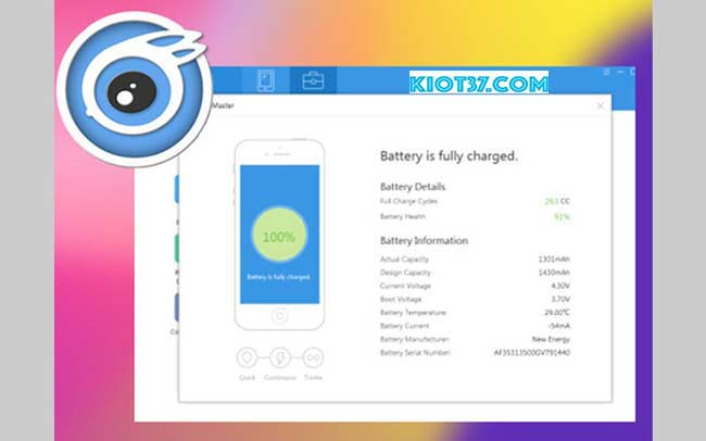 Tính năng iTools Battery Master