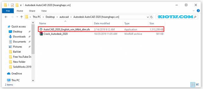 chạy file AutoCAD_2020_English_win_64bit_dlm.sfx.exe để cài đặt phần mềm