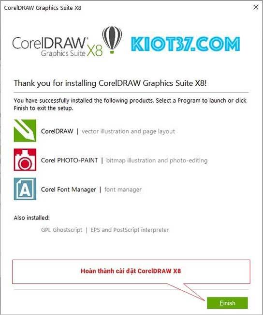 chọn Finish để hoàn thành quá trình cài đặt CorelDRAW X8