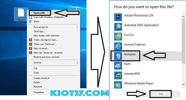chọn Notepad và Click chọn 'OK'