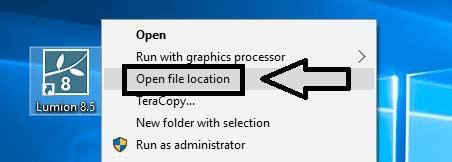 chọn Open file Location