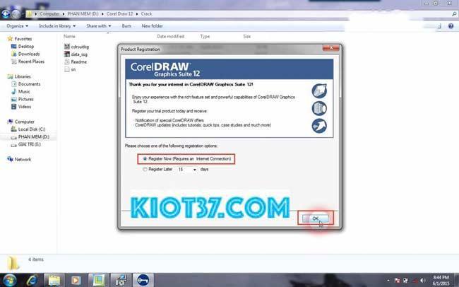 chọn Register Later sau đó chọn OK để xác nhận