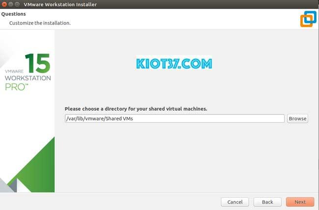 chọn vị trí lưu dữ liệu phần mềm Vmware Workstation sau đó nhấn Next