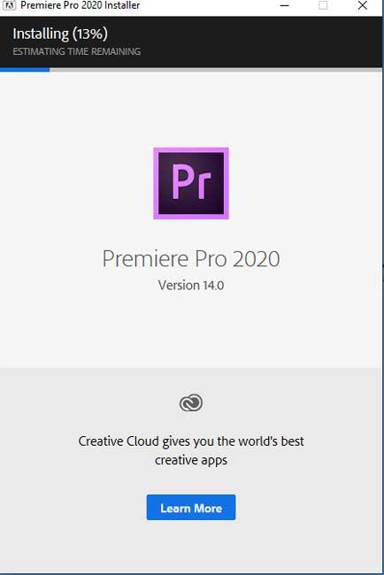 đang cài đặt Adobe premiere full crack