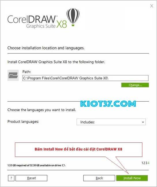 nhấn vào Install để hệ thống chạy phần mềm cài đặt Corel x8