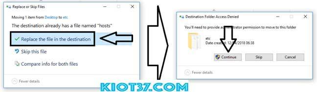 sao chép tệp 'Hosts' đã sửa đổi từ màn hình Desktop vào thư mục