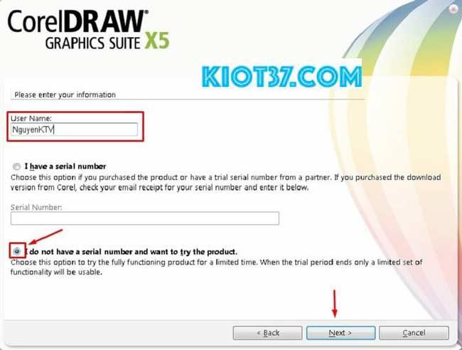 tick chọn I do not have serial number rồi nhấn next để tiếp tục