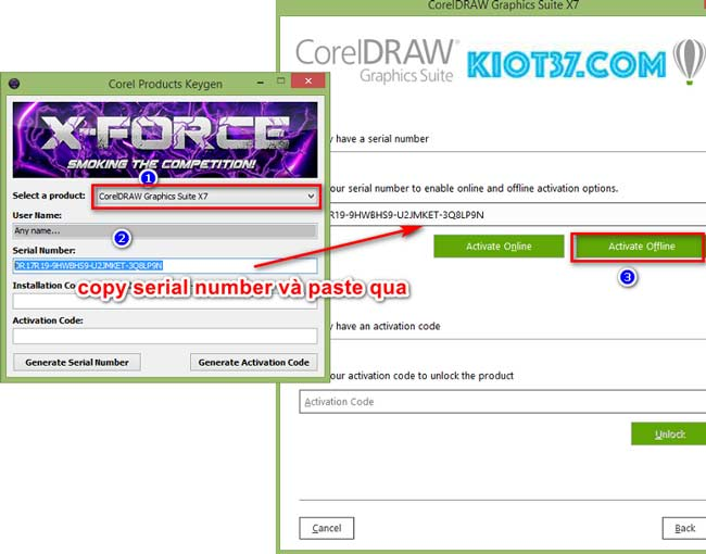 "Copy Serial Number trong keygen, sau đó dán qua bên Corel X7. Nhấn ""Activate Offline"""