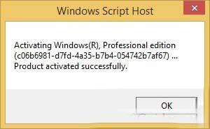 quá trình kích hoạt Window 8.1 đã được thực hiện thành công