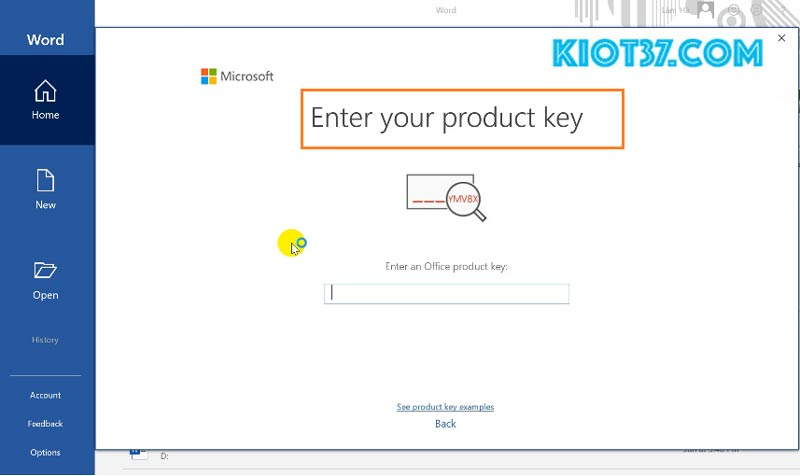 Hộp thoại Enter your Product key
